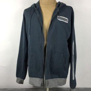 Men's RVCA Blue Long Sleeve Full Zip Hoodie Large